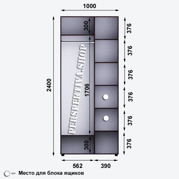 Шкаф-купе 1000 х 600 1Д1З